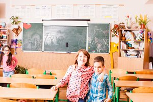 Friendship of boy and a girl at school