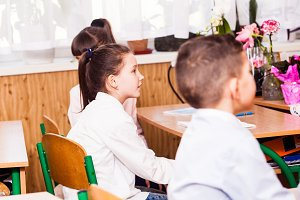 cute pupils are listening their teacher on the lesson