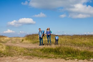 Family is walking trough mountain