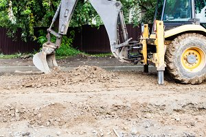 Excavator while working