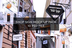 Shop Sign Mock-up 10 PSD Pack #1