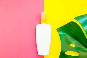 Summer sunscreen blank bottle mockup