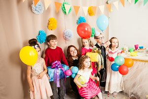beautiful kids  are happy on the birthday party