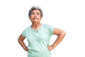 Old woman feeling furious on white