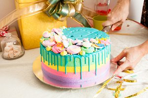 Celebration colorful cake for kids party