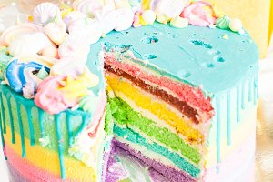 multicolor tasty birthday cake