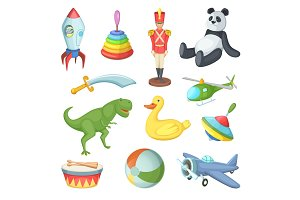 Vector illustration of funny cartoon toys for childrens isolate on white background