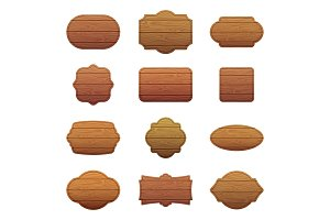 Illustration set of different shapes with wooden texture. Empty vector banners with place for your text