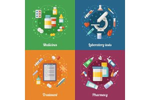 Medical illustration set with pharmaceutical elements. Pills and drugs. Doctor or clinical laboratory. Healthcare vector pictures