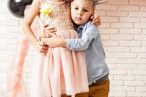 lovely kids hugging each other