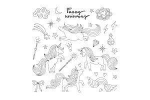 Magic funny icon set. Children doodle style. Wizard, unicorn and miracle. Vector illustration isolate on white background
