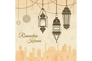Ramadan eid mubarak Festival background with lamp of Islmaic style. Vector illustration