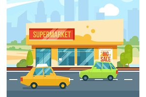 Supermarket exterior. Modern urban buildings, Cityscape with mall. Parking with cars. Vector illustration set