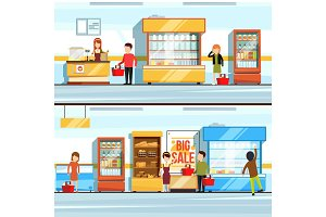 Vector concept illustration of shopping. Peoples in supermarket interior. Shop counter and different products. Checkout line