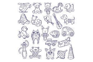 Hand drawn doodle toys for kids. Vector sketches isolate on white background