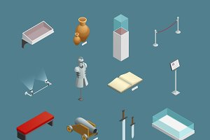 Museum isometric icons set