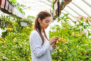 Beautiful young woman in a greenhouse