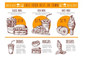 Vector pictures of bistro menu. Restaurant fast food vector hand drawn illustrations