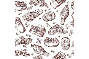 Fast food vector seamless pattern. Hand drawn illustration of hamburger sandwich cola and french fries