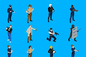 Police isometric icons set