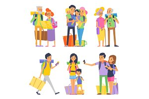 Happy family goes to vacation. Mother father and children. Grandmother and grandfather. Vector illustration