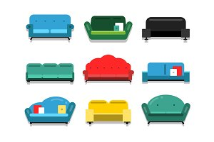 Furniture couches and sofa. Flat style vector illustrations