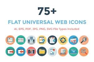 75+ Flat Universal Web Icons