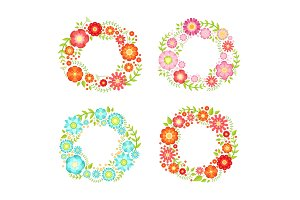 Floral frames in circle shapes with place for your text. Vector vintage collection