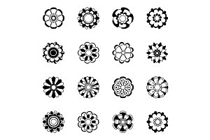 Monochrome floral icon set. Black vector flowers illustrations isolate