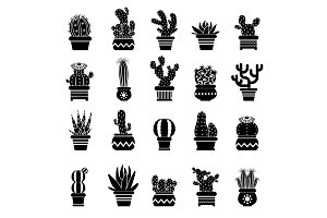 Vector silhouette of desert plants. Monochrome illustrations of decorative cactus in pots. Western icons
