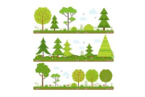 Vector landscape set with forest trees and other floral elements