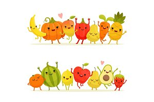 Cartoon fruits and vegetables in group. Vector happy mascots with smiling faces