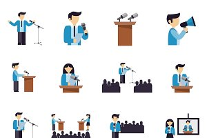 Public speaking icons flat set