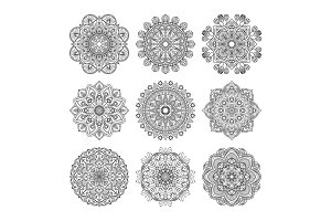 Meditation pattern. Vector illustration of indian mandalas set isolated. Yoga concept
