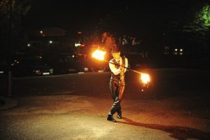 Fire show at the night