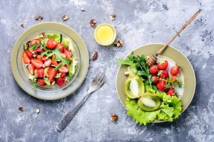 bowl of salad with strawberry