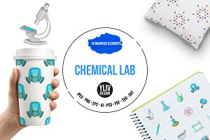 Chemical lab icons set, cartoon