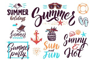Summer typography lettering decoration for vintage posters or postcards. Vector background pictures set