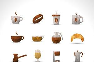 Coffee polygonal icons set