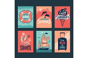 Summer, tropical postcards or retro posters with hand drawn letters. Vector illustration