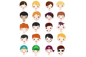 Boy portrait vector kids character face of guy with male hairstyle and cartoon manlike person with various skin tone illustration set of man-child facial features isolated on white background