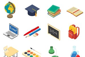 School accessories isometric icons