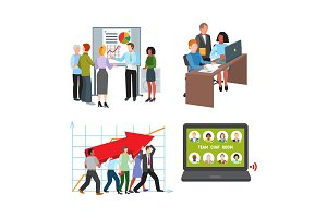 Team work people management business concept symbols flat colorful design characters vector illustration elements