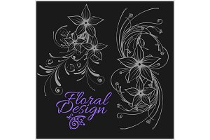 Vintage floral design - vector set isolated on black