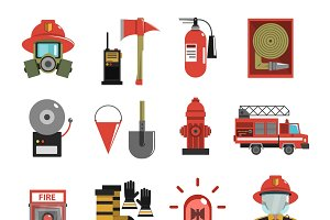 Fire and firefighter equipment icons