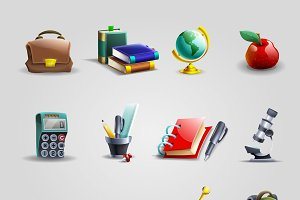 Education cartoon icons set
