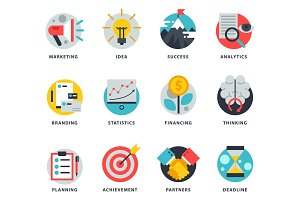 Startup and strategy web busines icon set for websites ui management finance start up vector illustration.