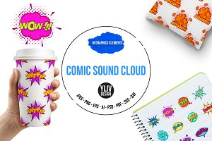 Comic sound cloud set icons set