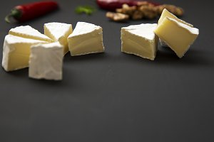 Slices of cheese camembert or brie