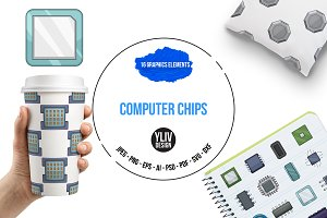 Computer chips icons set, cartoon
